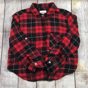 Forever 21 Red Plaid 3/4 Sleeve Mid-drift Top
